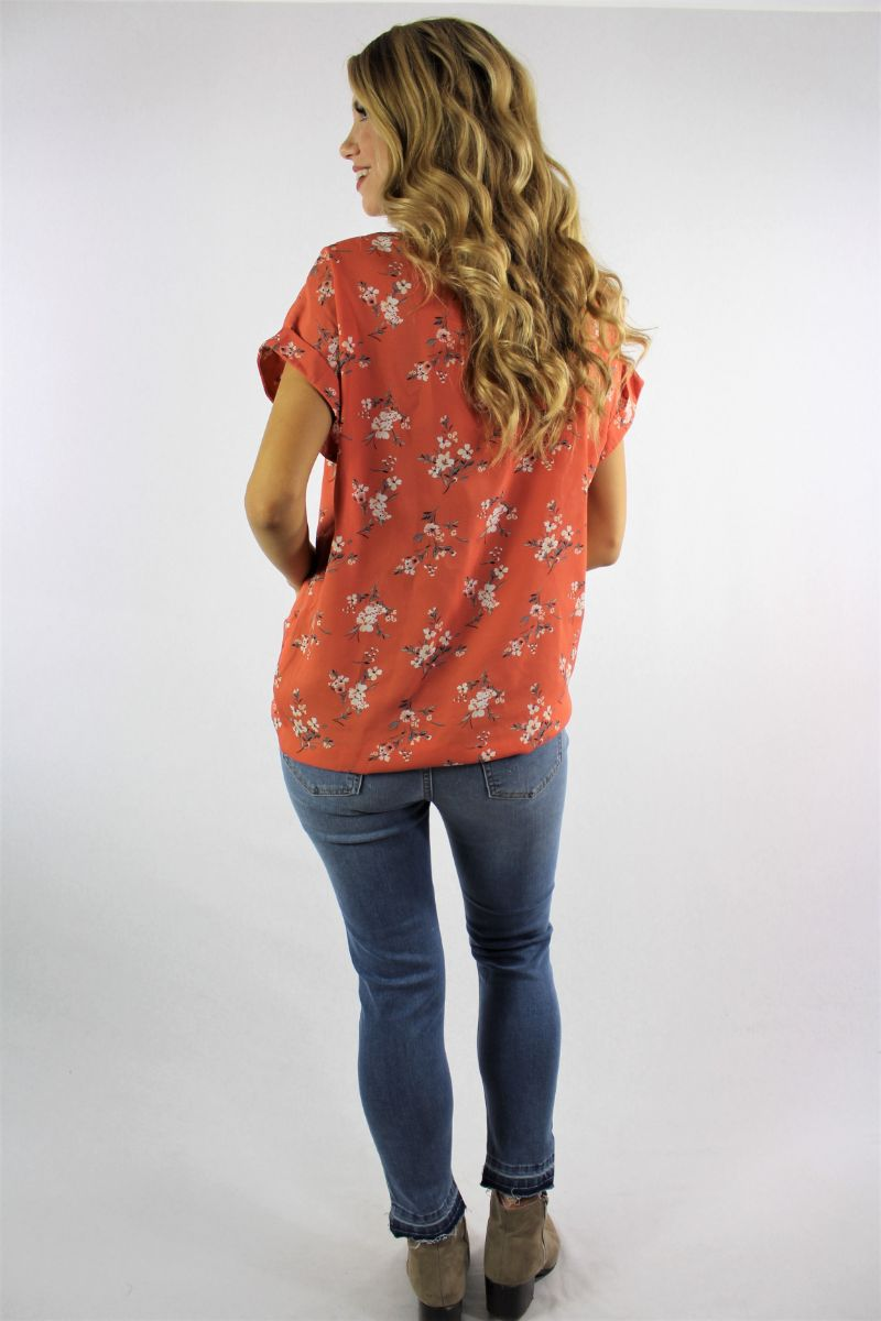 Women's Floral Print V Neck Top with Front Knot