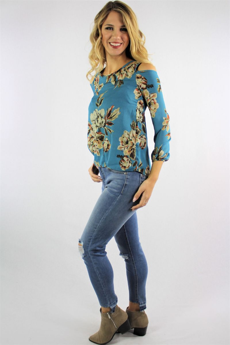 Women's Floral Print Cold Shoulder Top