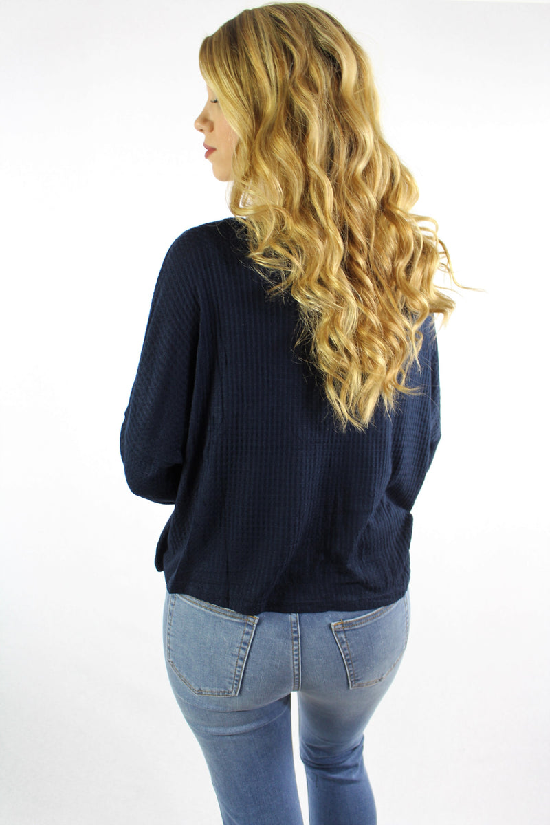 Women's Long Sleeve Loose Top with Button Detail