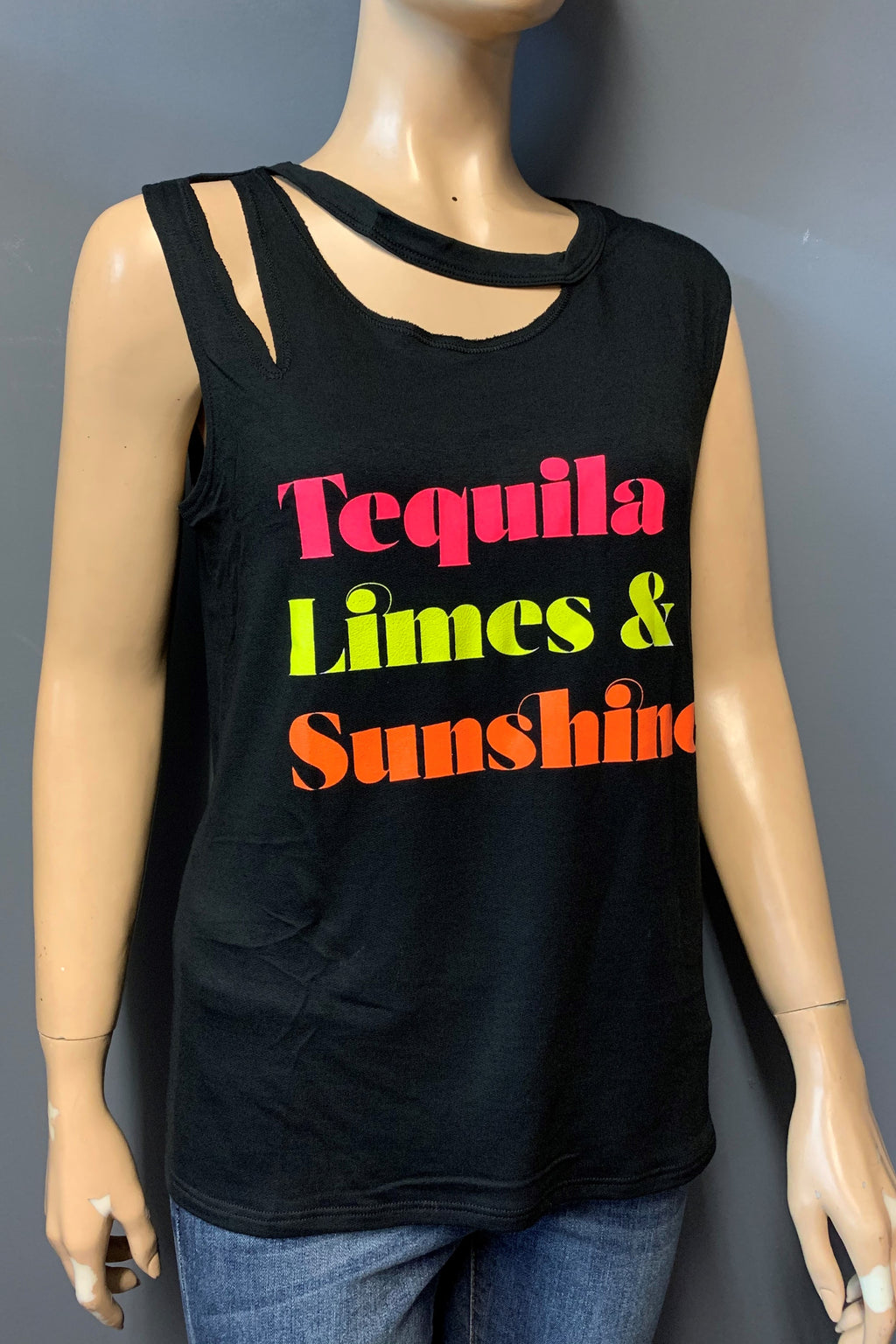 "Women's Printed ""Tequila"" Ripped Muscle Tank Top (LAST PACK)"