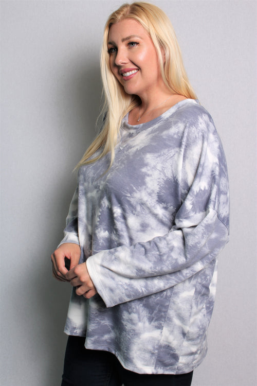 Women's Plus Size Long Sleeve Tie Dye Loose Fit Top