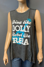 "Women's Printed ""Dolly & Reba"" Muscle Tank Top (LAST PACK)"