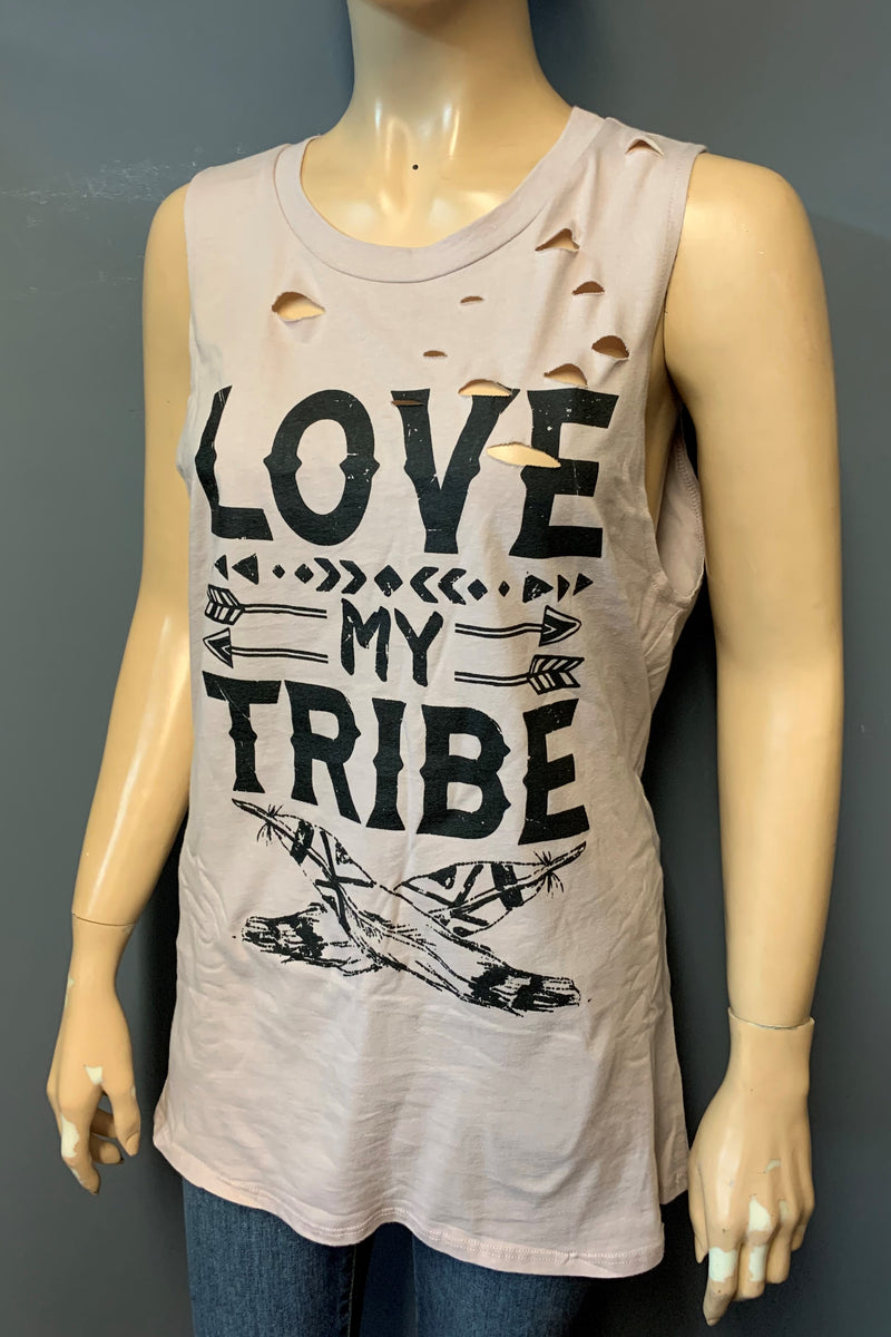 "Women's Printed ""Love My Tribe"" Muscle Tank Top (LAST PACK)"