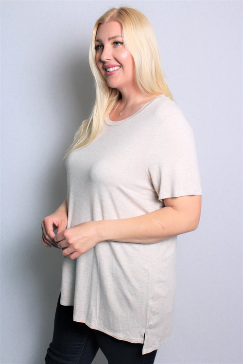 Women's Plus Size Short Sleeve Round Neck Solid Top