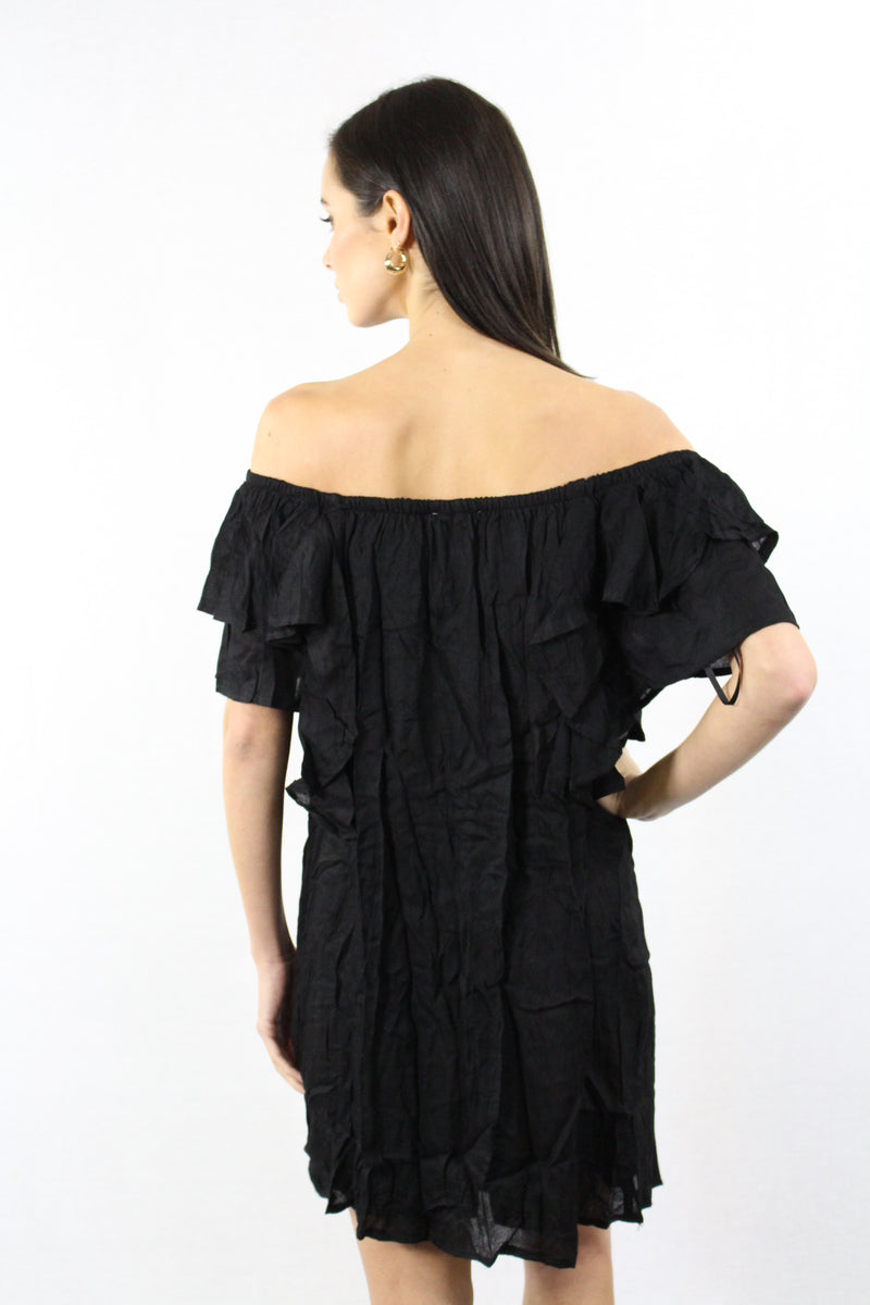 Black Layered Off Shoulder Dress