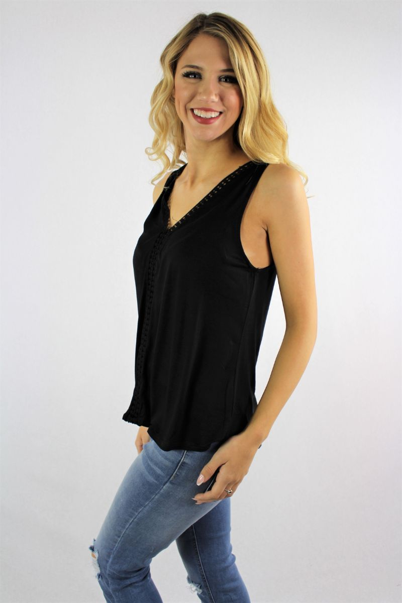 Women's Sleeveless V Neck Top with Crochet Detail