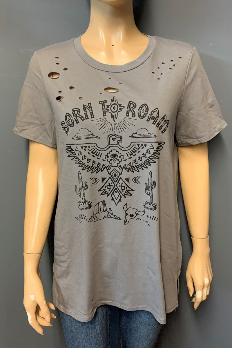 "Women's Printed ""Born to Roam"" Ripped Top"