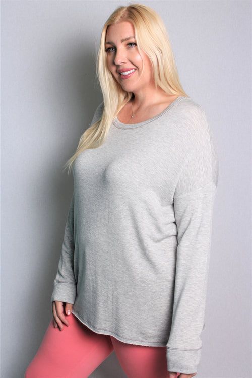 Women's Plus Size Long Sleeve Solid Top