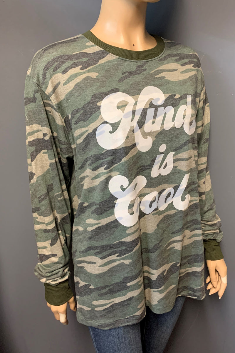 "Women's Printed Long Sleeve ""Kind is Cool"" Top (LAST PACK)"