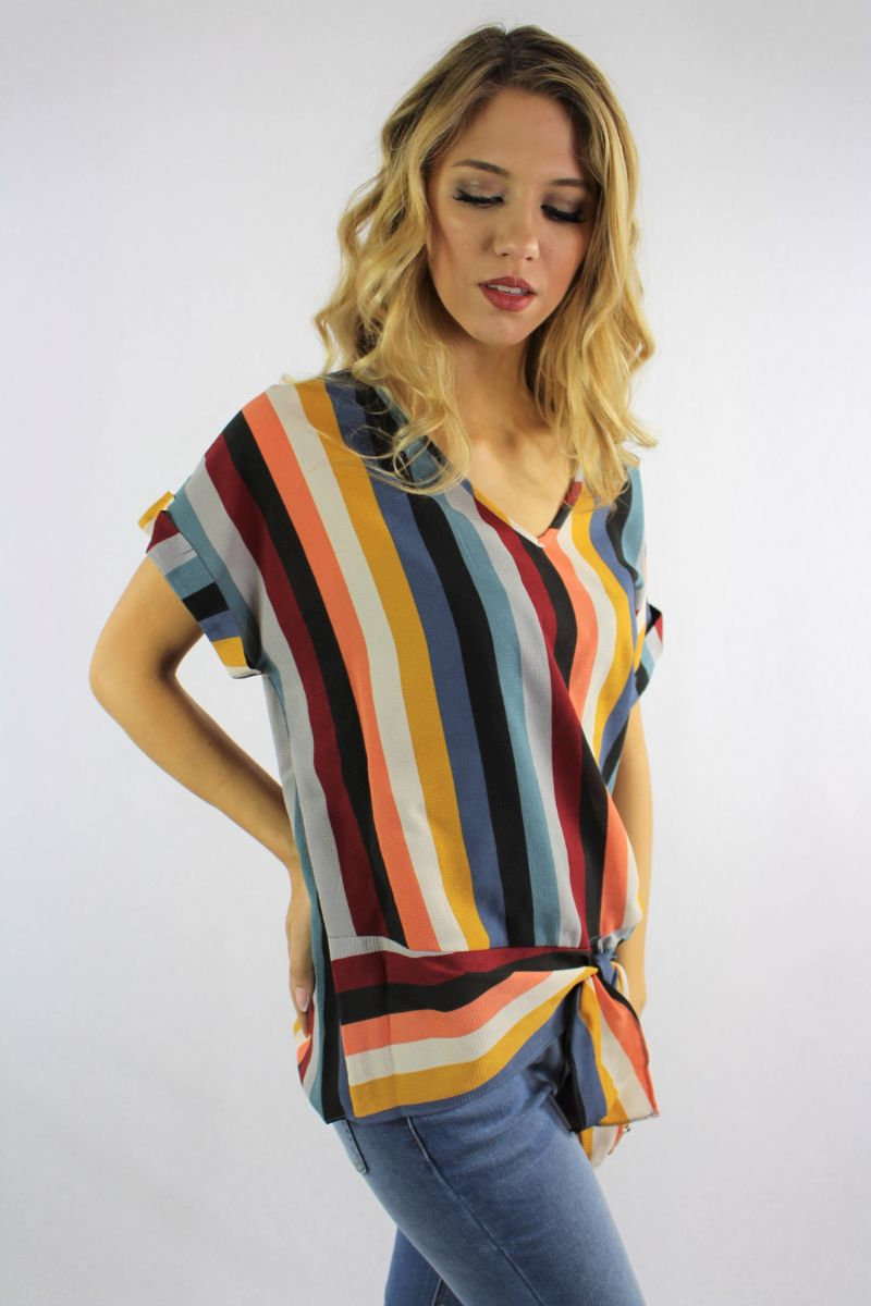 Women's Stripe Print V Neck Top with Front Knot