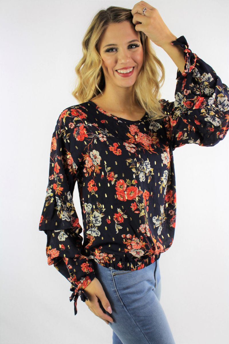 Women's Floral Print Layered Sleeve Blouse