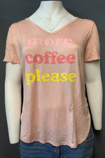"Women's Plus Size Printed ""More Coffee Please"" Top (LAST PACK)"
