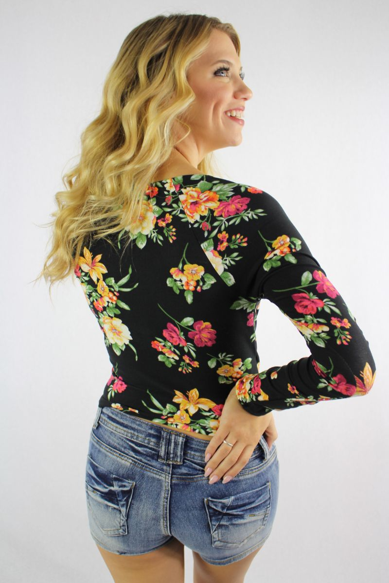 Women's Floral Print Long Sleeve Crop Top