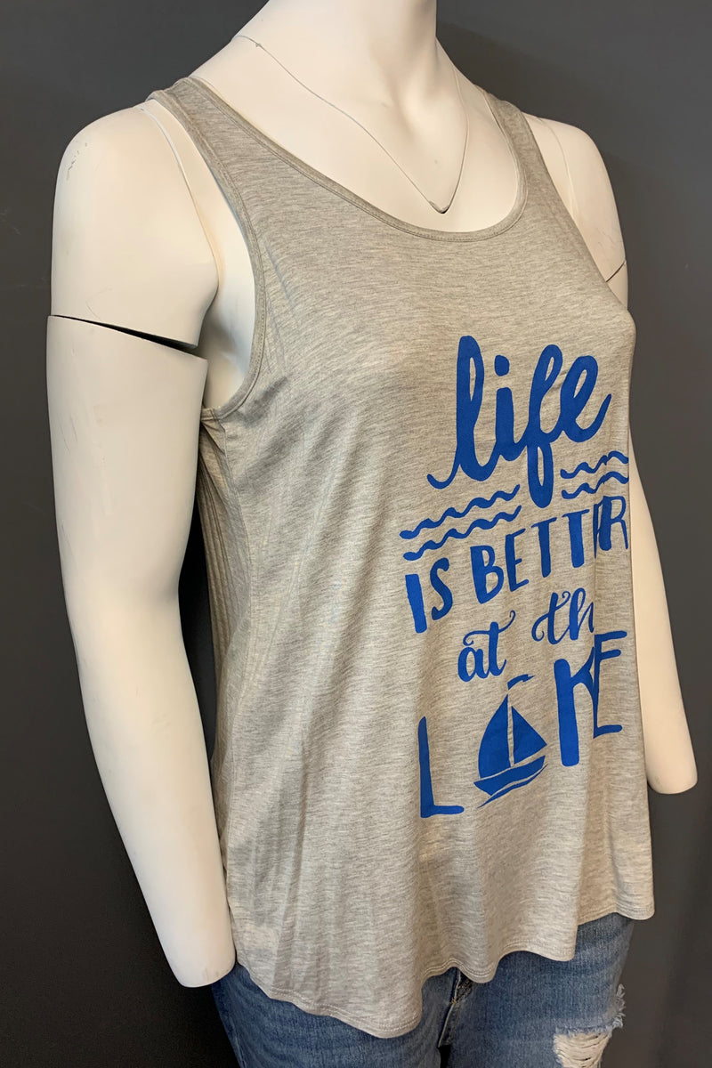 "Women's Plus Size Printed ""Life/Lake"" Tank Top (LAST PACK)"