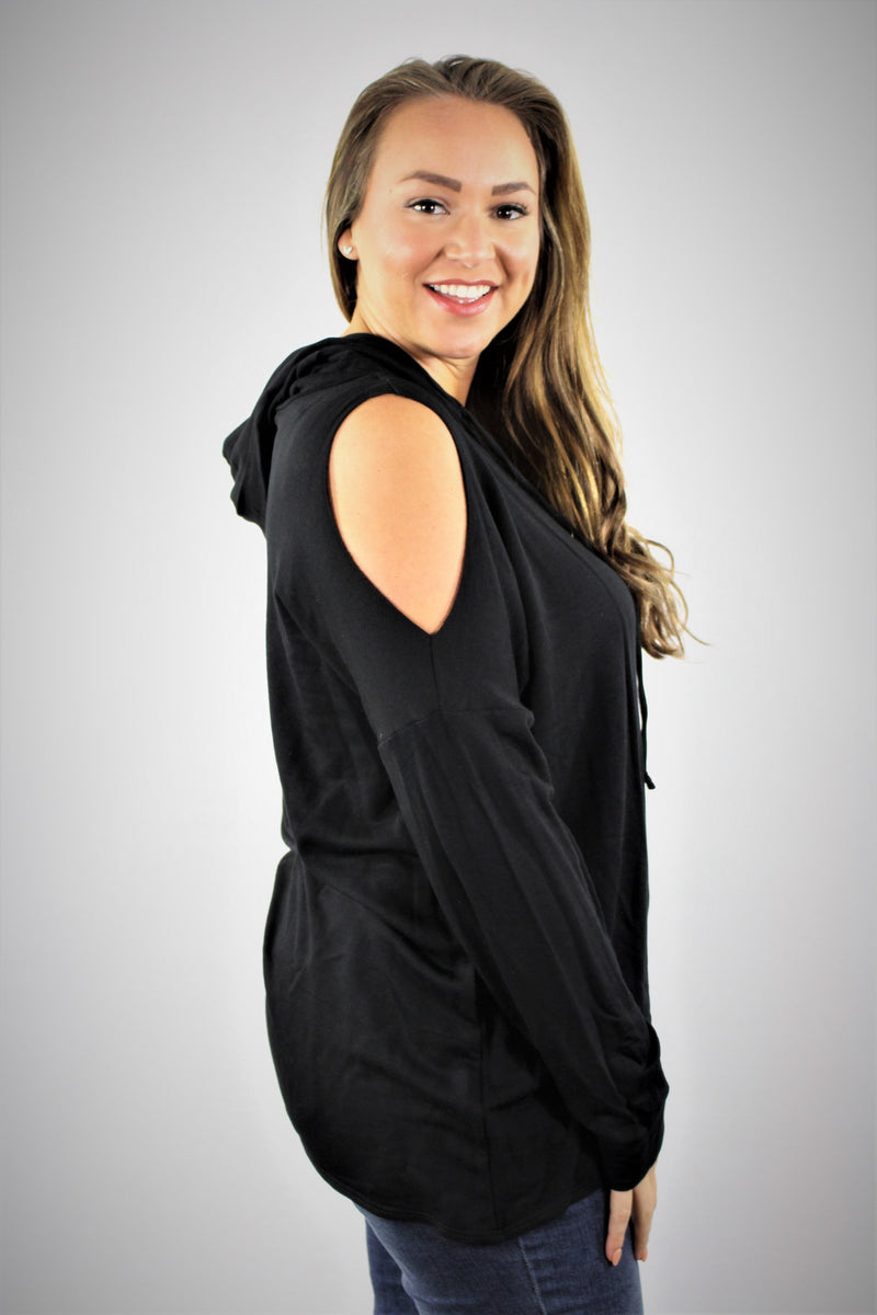 Plus Size Cold Shoulder Hoodie