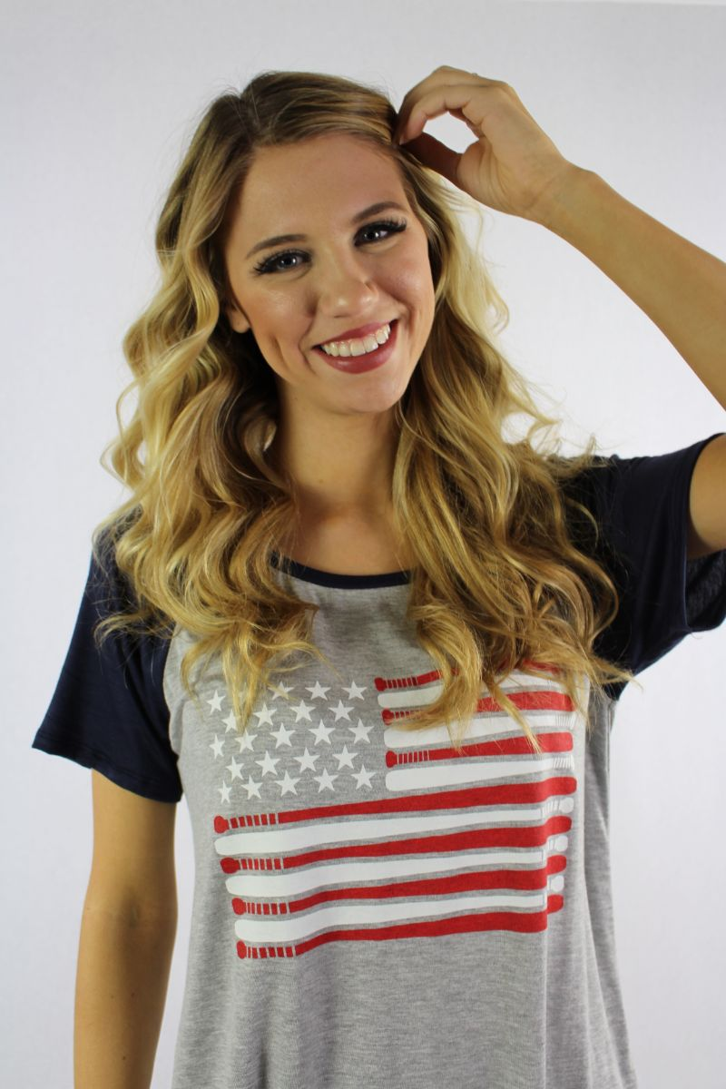 Women's Short Sleeve Top with American Flag