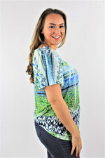 Plus Size Off Shoulder Printed Top