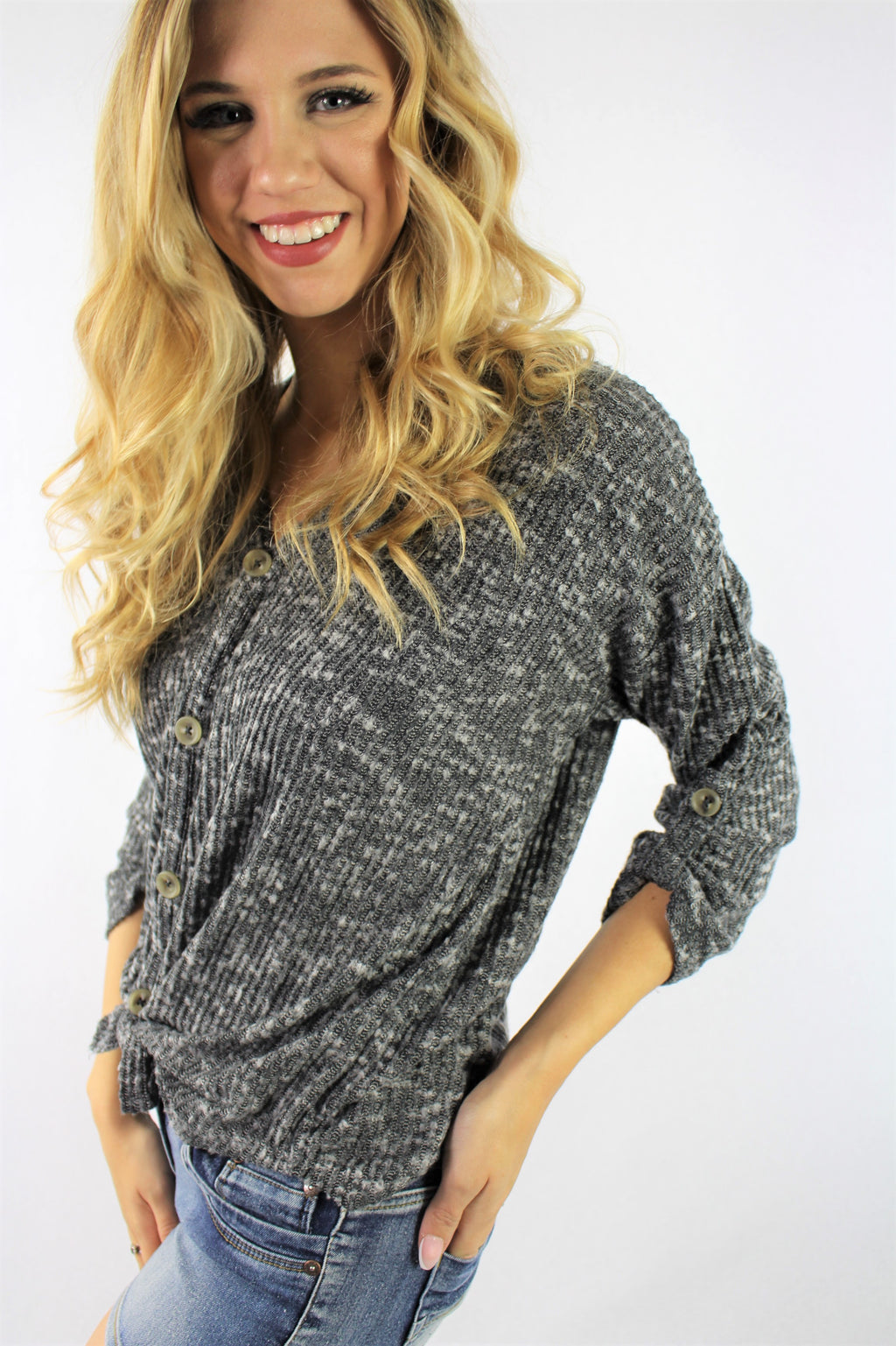 Women's Long Sleeve Button Down Top with Front Knot