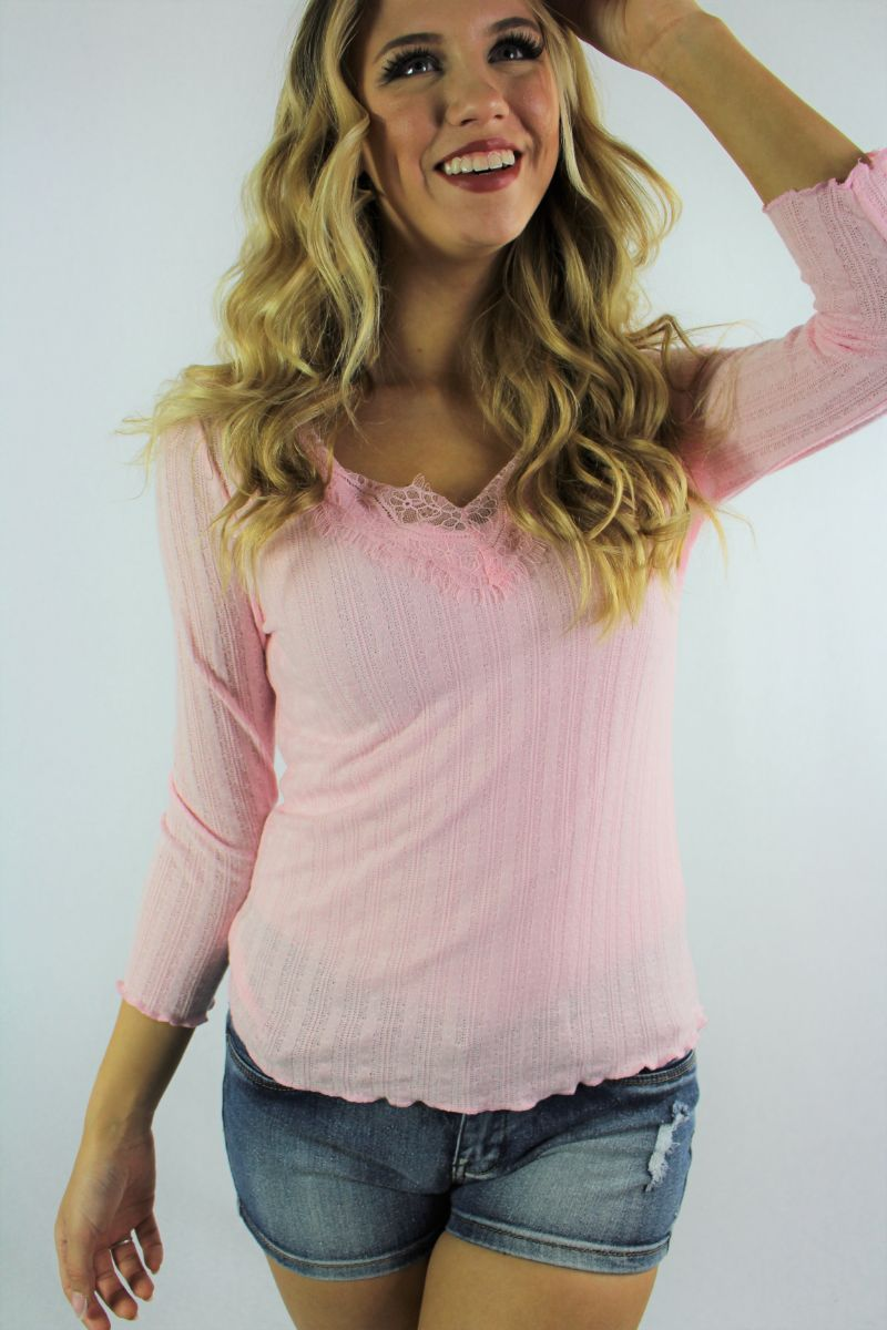 Women's 3/4th Sleeve V Neck Top with Criss Cross Back