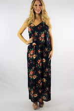 Women's Floral Print Strappy Maxi Dress
