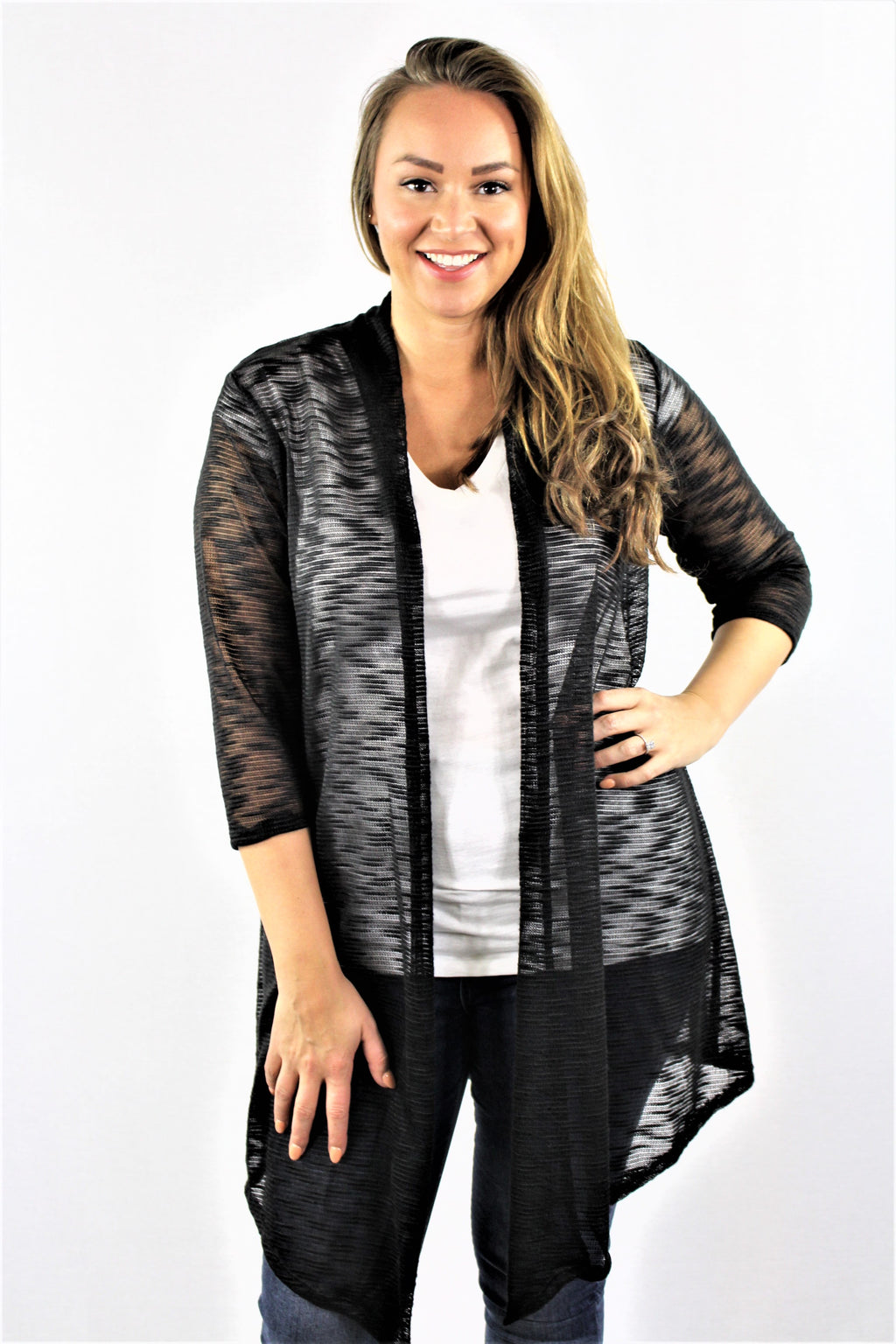 Plus Size 3/4 Sleeve Light Cardigan