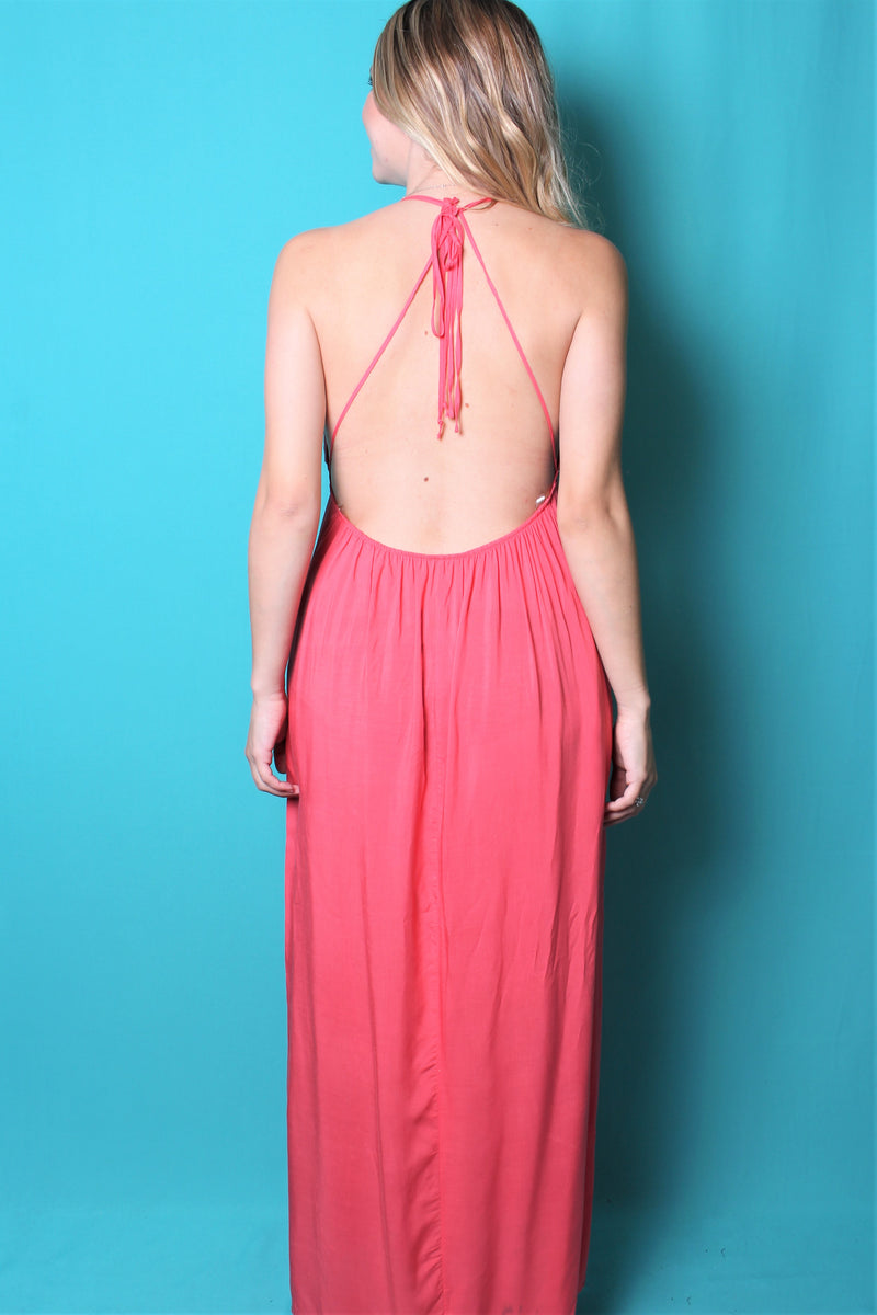 Women's Halter Strap Maxi Dress with Open Back Design