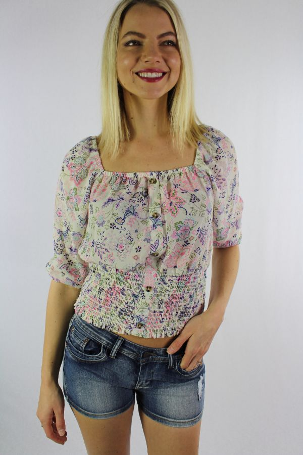 Women's 3/4th Sleeve Floral Top with Cinched Waist
