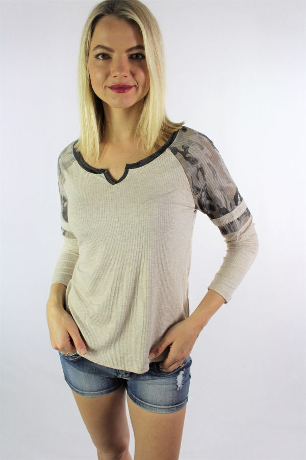Women's Camo Sleeve V Neck Top