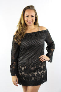 Plus Size Long Sleeve Lace Detail Dress