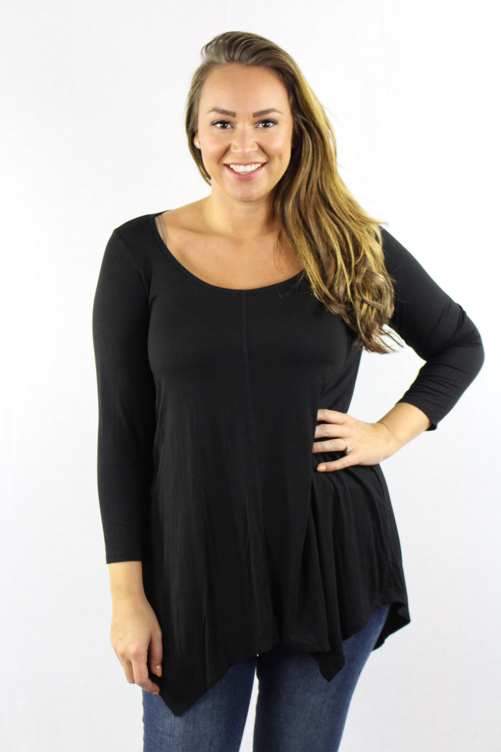 Plus Size 3/4 Sleeve Split Back Top