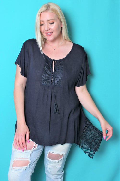 Women's Plus Size Short Sleeve Crochet Top w/ Tassel String