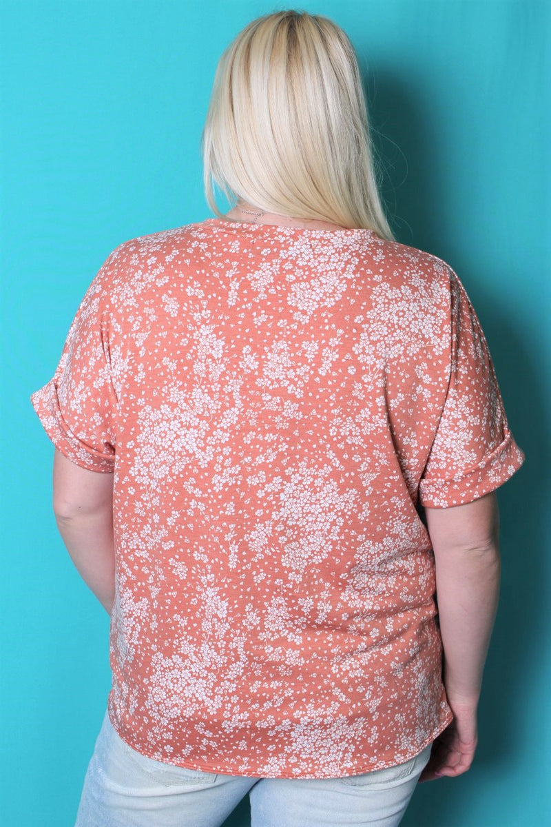 Women's Plus Size Floral V Neck Top w/ Front Knot