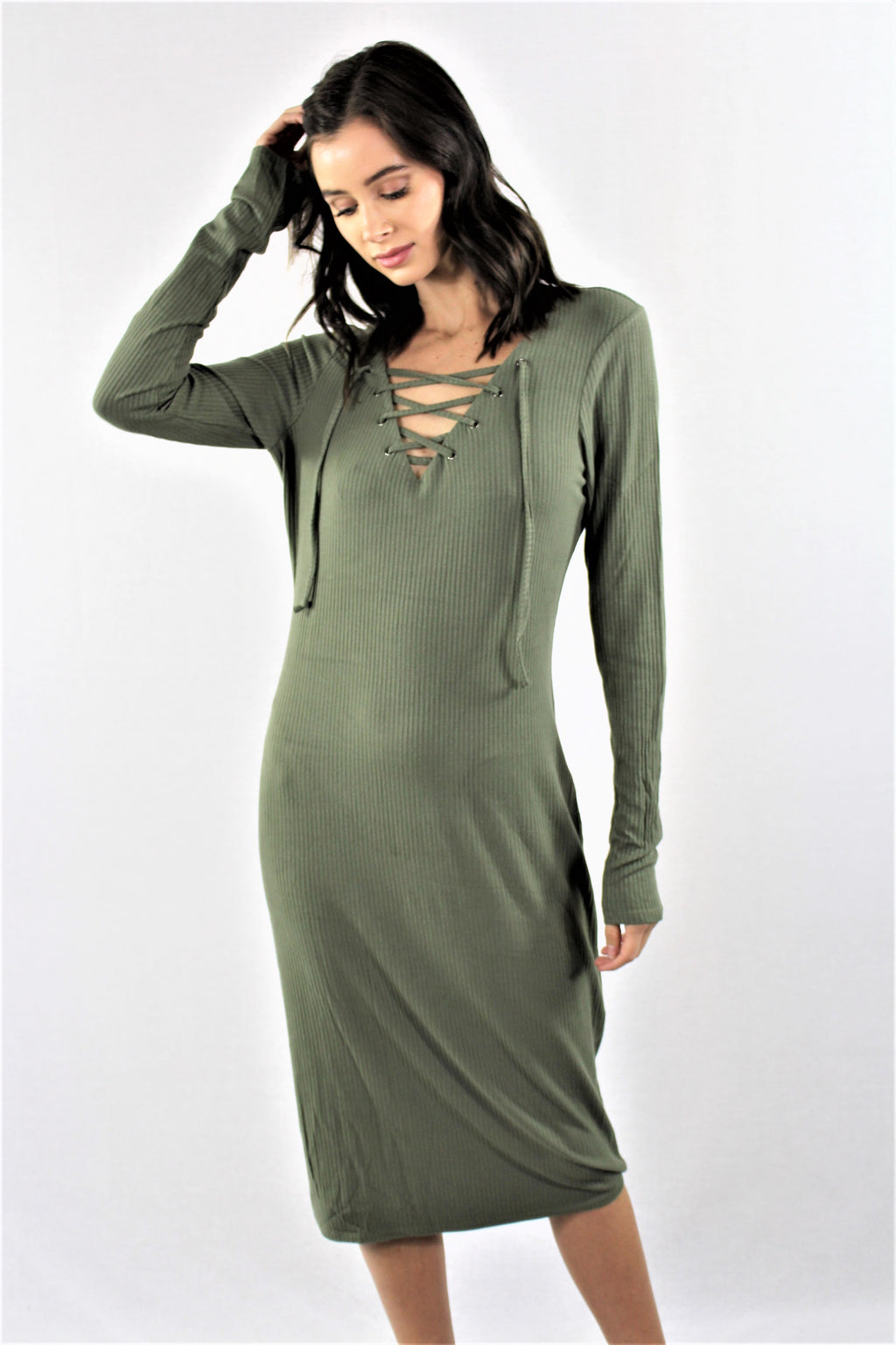 Women's Lace Up Straight Cut Dress