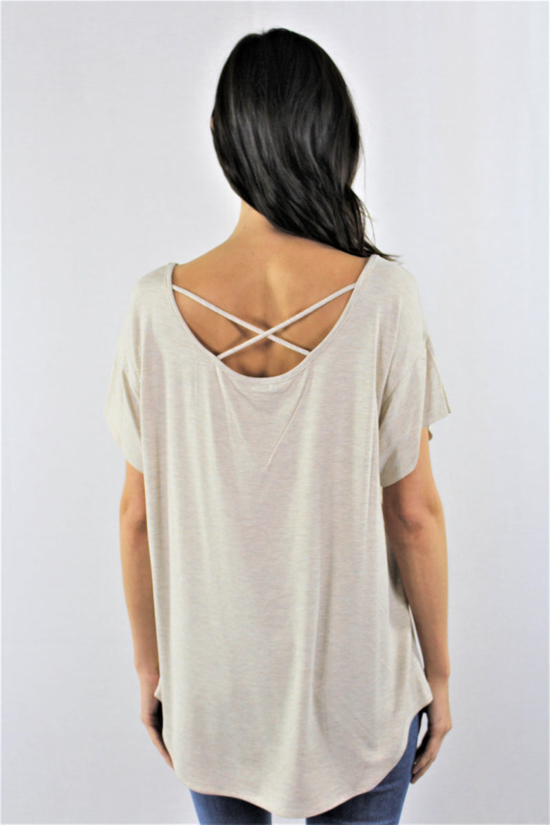 Relaxed Fit Criss Cross Back Top