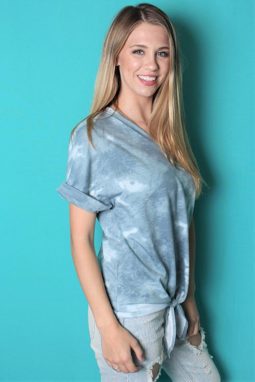 Women's Tie Dye V Neck Top w/ Front Knot
