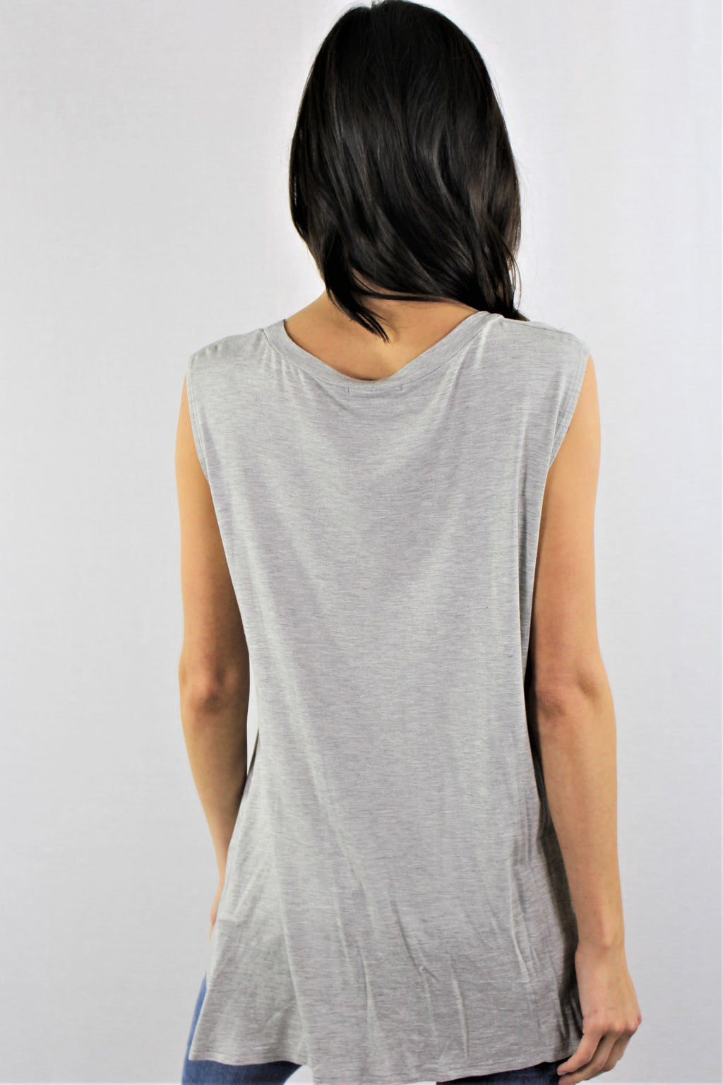 Sleeveless Top with Twisted Side
