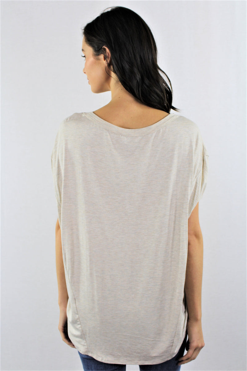 V Neck Semi Batwing Sleeve Top
