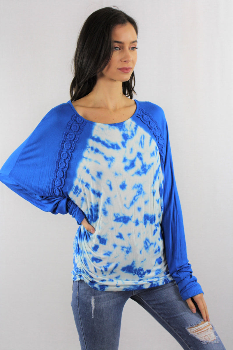 Long Sleeve Tie Dye with Crochet Detail (PLUS SIZE)