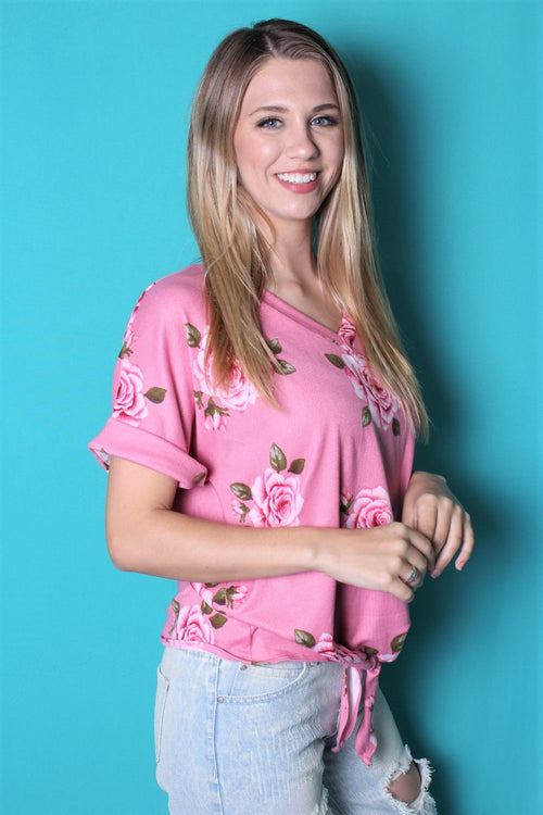 Women's Floral V Neck Top w/ Front Knot