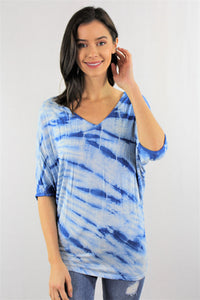 V Neck Tie Dye Crochet Detail Top