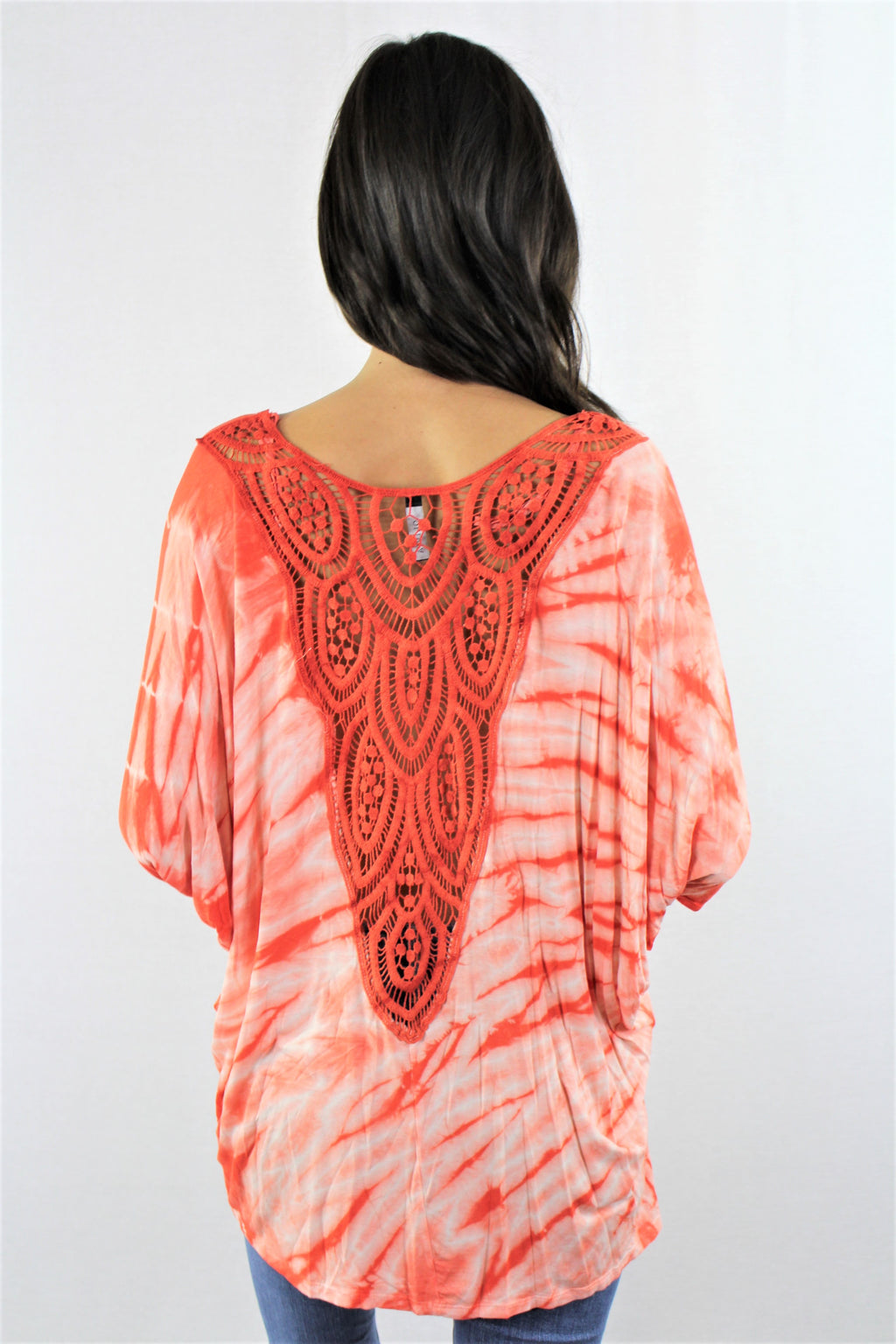 Women's V Neck Tie Dye Crochet Detail Top