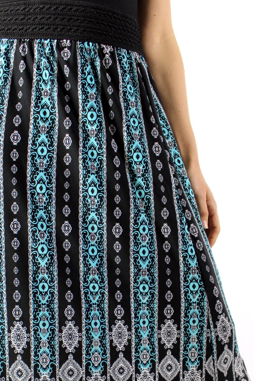 Women's Printed Long Skirt with Side Slit
