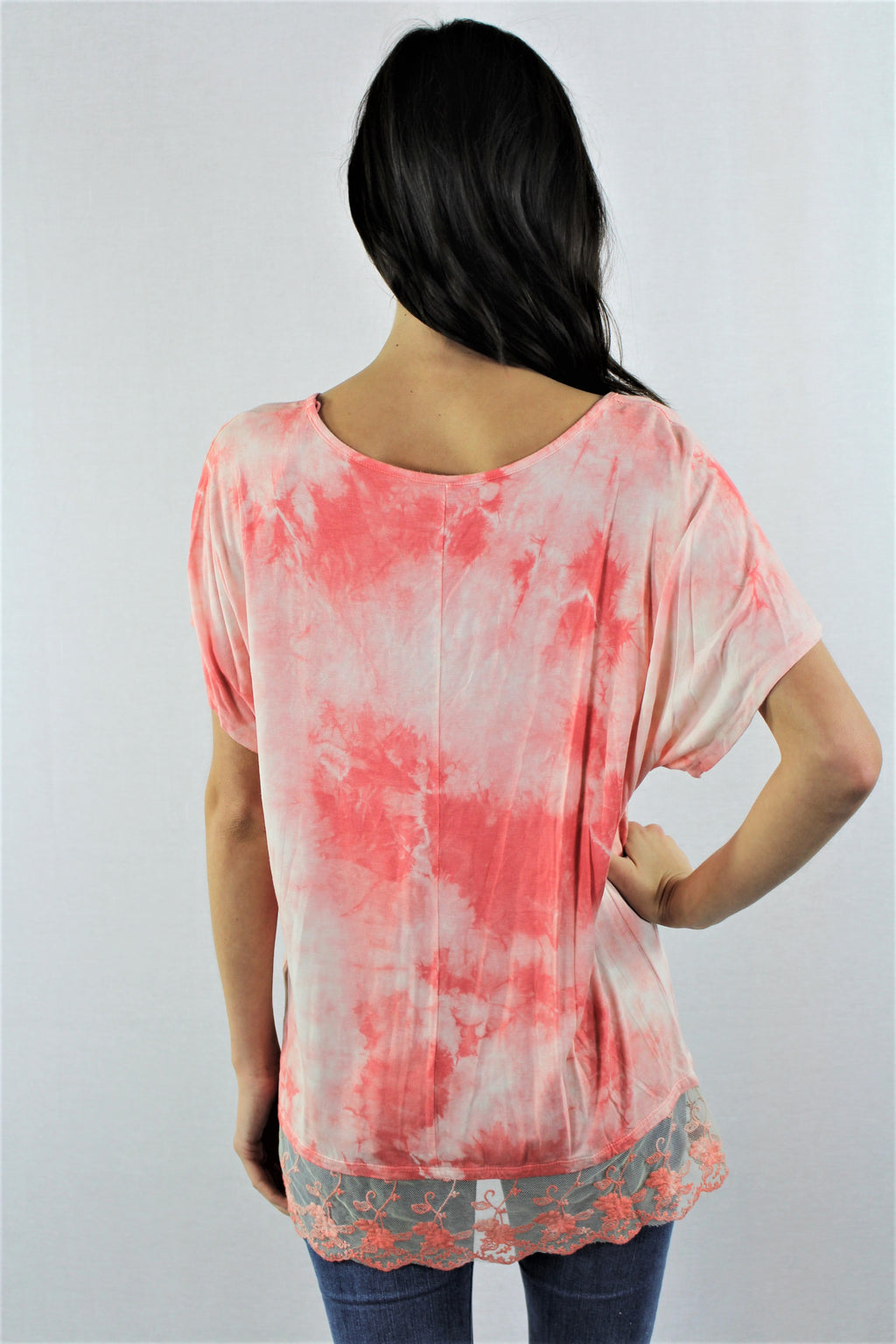 Lace Hem Detail Tie Dye Top