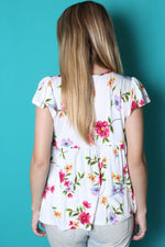 Women's Cap Sleeve V Neck Floral Peplum Top