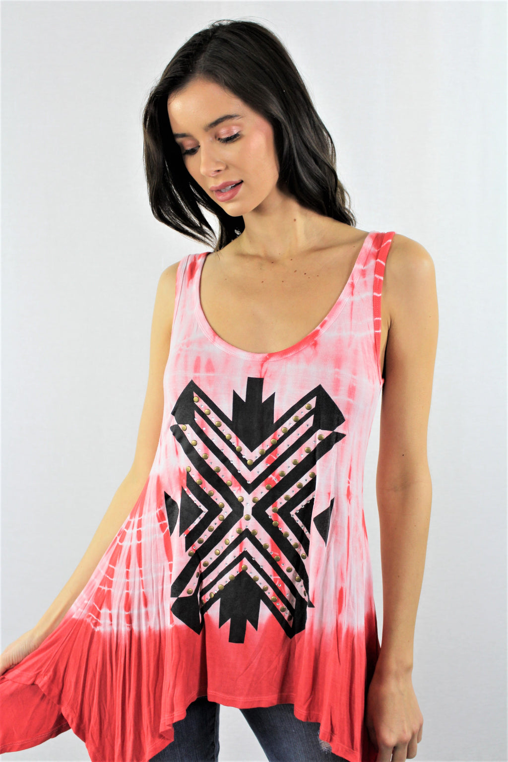 Printed Uneven Hem Tie Dye Tank Top