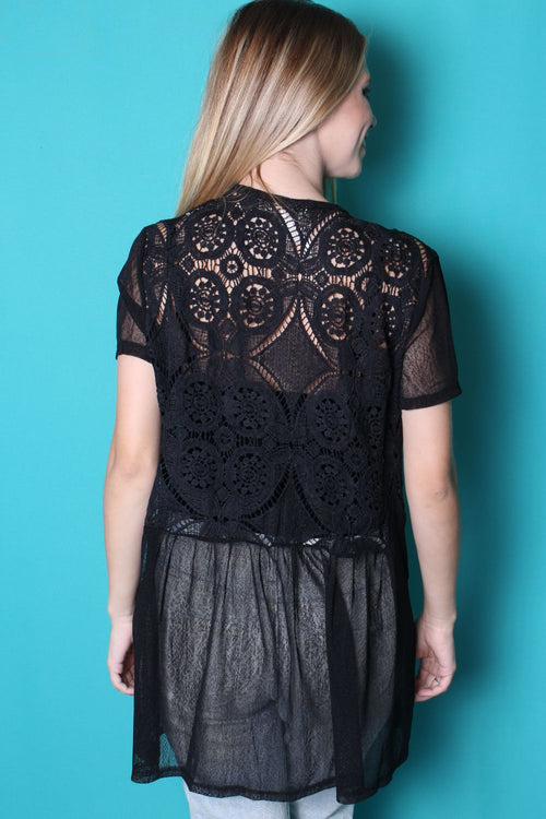 Women's Short Sleeve Open Front Crochet Detailed Kimono