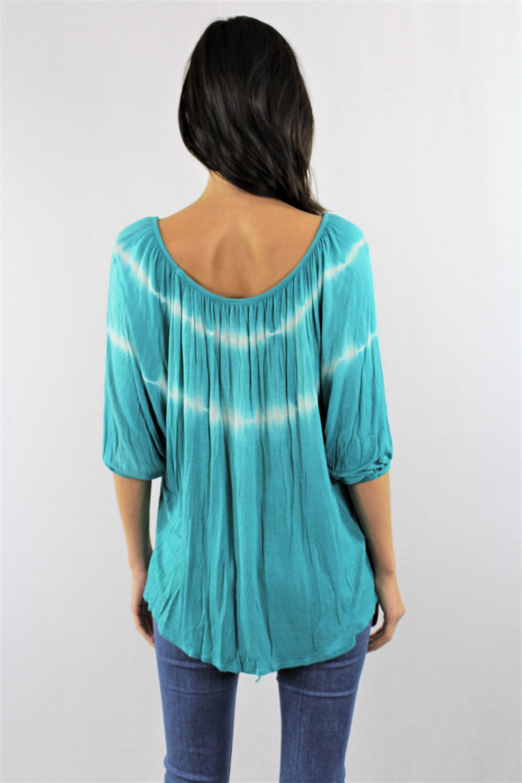 Batwing Sleeve Tie Dye Front Knot Top
