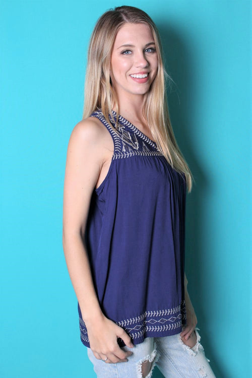 Women's Sleeveless Woven V Neck Top w/ Embroidered Detail
