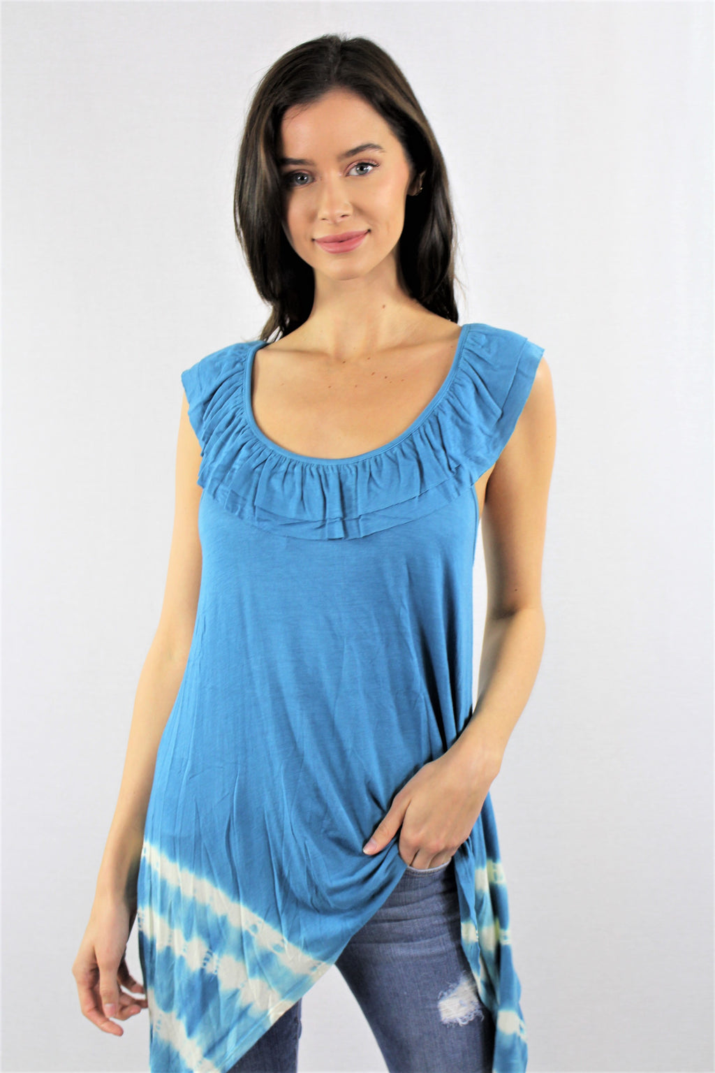 Ruffled Neck Line Tie Dye Tunic