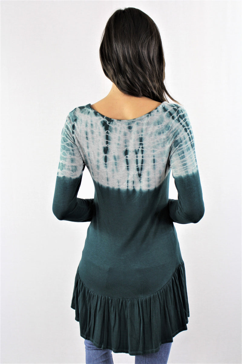 Long Sleeve Tie Dye Ruffled Hem Tunic